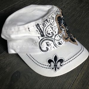 9ac50865bc0 Accessories - Fleur de lis Hat white with bling